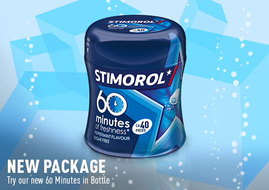 Stimorol New Pack, Try our new 60 minutes in Bottle